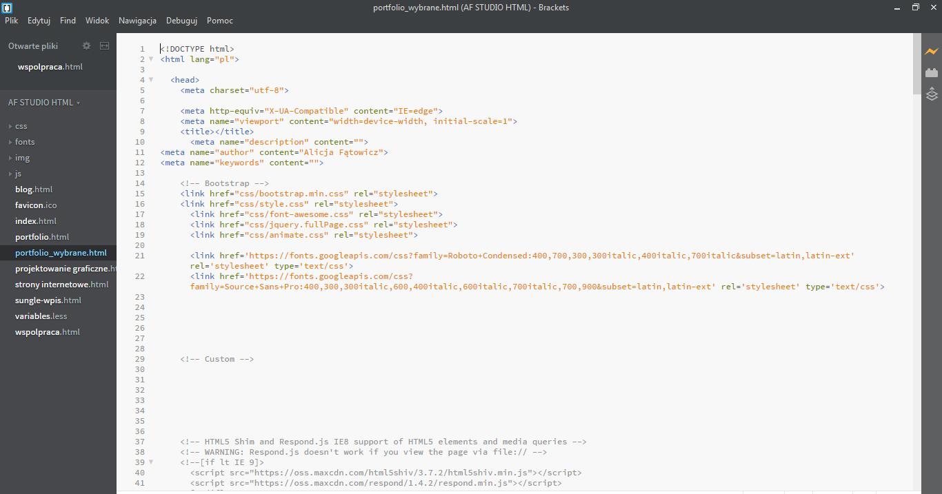 kodowanie strony internetowej